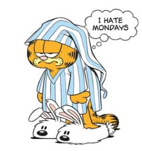 This is Garfield. Garfield does not like Mondays. I find this puzzling, because Garfield is a cat and has no job or a way to tell between work days and weekends.