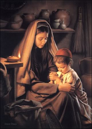Mother and child praying